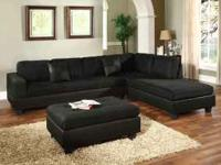BRAND NEW BLACK MICORIFBER SECTIONAL SOFA & OTTOMAN