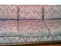 Groovy vintage sofa with original brown zigzag fabric,