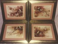 4) Antique, beautifully framed pictures of Songbirds.