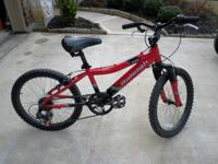 "Two adult, two kids bikes: 20"" Raleigh Rowdy, red, 5"