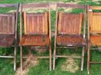 We have 2 different styles of 4 Folding Oak Chairs.
