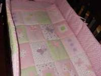 BEAUTIFUL BABY GIRL CRIB BEDDING $40 4pc- COMFORTER,