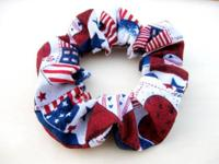 Great red, white and blue hair scrunchie made with