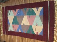 Vintage Red/Burgandy Kilim rug with Blue, Pink, Teal