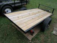 Nice 4x8 trailer with 14' wheels, 5/4 deck, lights.