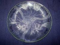 Photo 1) Delicate, Curved ART GLASS DISH with Ornate