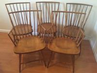 5 Antique DINING TABLE CHAIRS Wooden BAMBOO Style 2