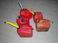 For sale are 5 Assorted Gas Cans. They are in great