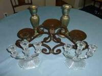"2 Glass Candelabras 71/4"" High x 71/2"" broad,. 1 Heavy"