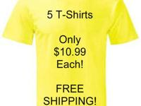 5 Colored T-Shirts Only $10.99 Each Complete! FREE