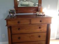 "Biedermeier five drawer dresser with pillars.  W 43"" D"