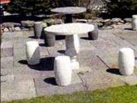 Round Stone Table and 4 Stools for Sale - Table