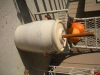"- Crock butter churn in good condition. - A ""5"" marking"