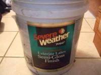 NEW 5 gallon bucket of white paint, exterior, semi