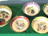 5 Large Serving/Salad Bowls Garden Patterns, never