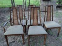 5 Mid Century Modern Walnut Dining Chairs Vintage mid