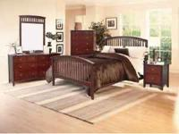 New 5-Pc Espresso Mission style Windsor Bedroom Set.