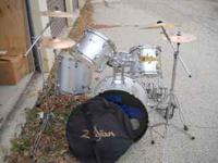 5 pc drum set orbitone with double bass pedal, practice