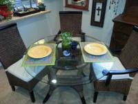Beautiful Bahama Style Glass Top Dinning Room Set with