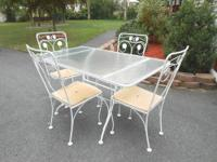 5 PC. WHITE WROUGHT IRON & GLASS 1950s DINING SET THIS