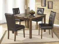 Only 2 Available  Faux Marble 5 Piece Dining Room Set
