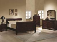 This 5 PC bedroom set includes the following: Luois