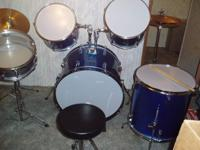 5 piece blue Enforcer drum set with accessories.