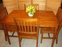 5 Piece Dining Set - Solid Wood (Ash) Table 47 1/2""