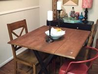 Dining table with leaves and 4 chairs- two wood 'X'