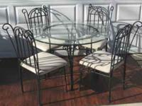 "Round Glass Table 42"" Diameter 4 Chairs Set is in"