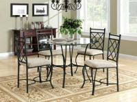 5-Piece Glass Top Metal Dining Set in good condition.