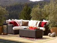 99 inches by 71 inches. Brand new all-weather wicker