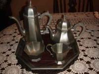 5 Piece Teat Set w/tray in the Octette Pewter (hollow