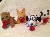 5 Plush Dogs  Excellent Condition  New  Added heart