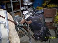 5 SETS OF GOLF CLUBS WITH BAGS AND CARRY CART.