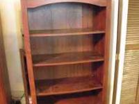"5-shelf medium color wood bookcase - 59"" x 28"" - call"