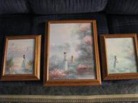 NEW LOWERED PRICE  (5) OIL PAINTINGS FRAMED IN SOLID