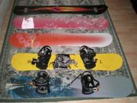 5 snowboard for sale- include bindings and some boots.