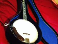 Global 5 String Banjo, Has Extra Strings, book,and case