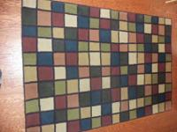 5 x 8 Area Rug, multi color, square pattern $ 50Call