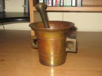 ANTIQUE BRONZE PHARMACY MORTAR w/ PESTLE This is a