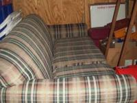 FULL SOFA, LIGHT, GREEN, TAN, PLAID DESIGN, 3 SEATS