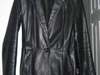 Cach'e Black Leather Ladies Jacket, Good Condition