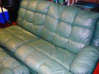 $50/OBO - GREEN LEATHER COUCH FOR SALE!! OLDER BUT