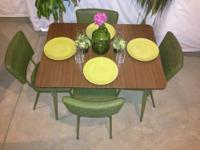 Vintage 1950's Kitchen Table & 4 Original Vinyl Chairs