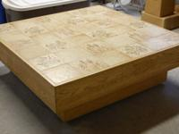Large, solid. sturdily constructed, coffee table on