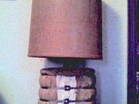 ANTIQUE BURLAP WRAPPED BALE OF COTTON LAMP AND BURLAP