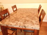 Dining Room Table with polished multi-colored marble
