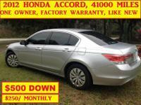 2012 HONDA ACCORD, 41000 MILES,LIKE NEW, ONE OWNER,