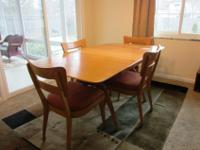 """Wheat finish, dining room table with two additional 12"""""""